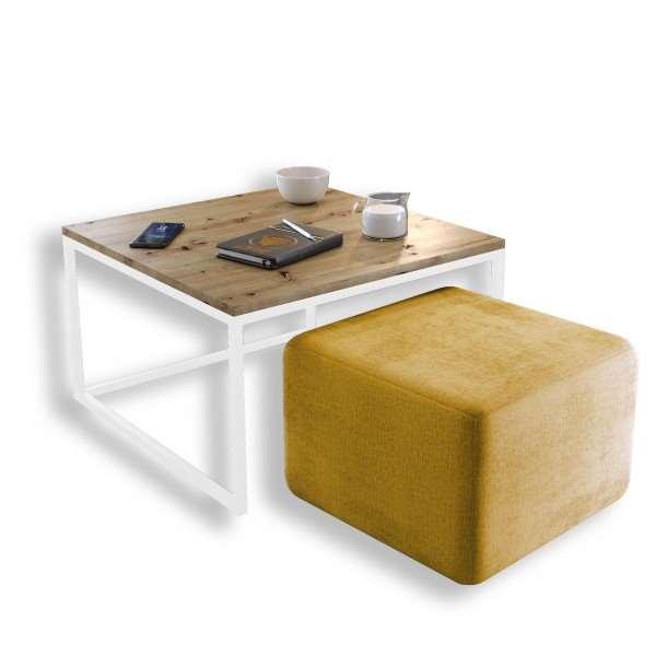Stolik kawowy YOSHI z pufą złoty mat