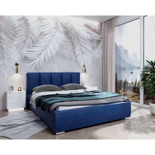 Łóżko tapicerowane SALOME z pojemnikiem French Velvet 671 granatowy