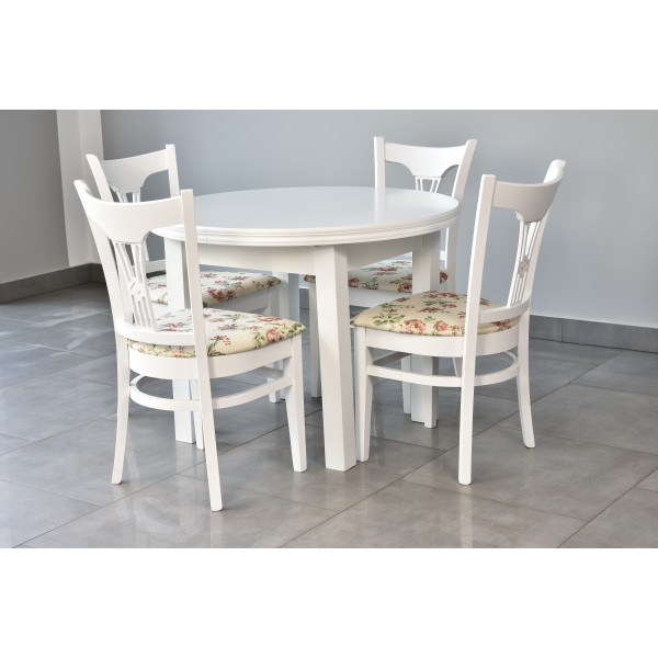 Stół okrągły PUERTO + 4 krzesła