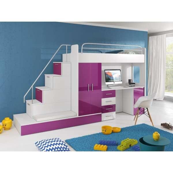 Łóżko piętrowe dziecięce RAJ 5 wysoki połysk