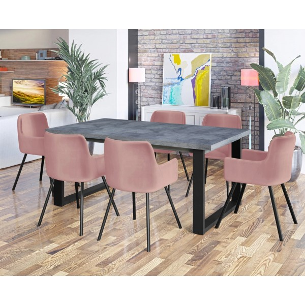 Zestaw mebli do jadalni VENICE - stół beton 150 - 190 cm