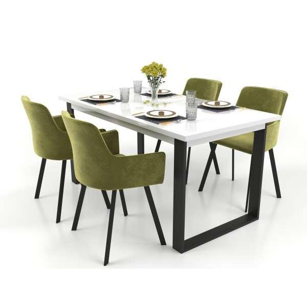 Zestaw mebli VENICE stół rozkładany biały połysk z 4 krzesłami