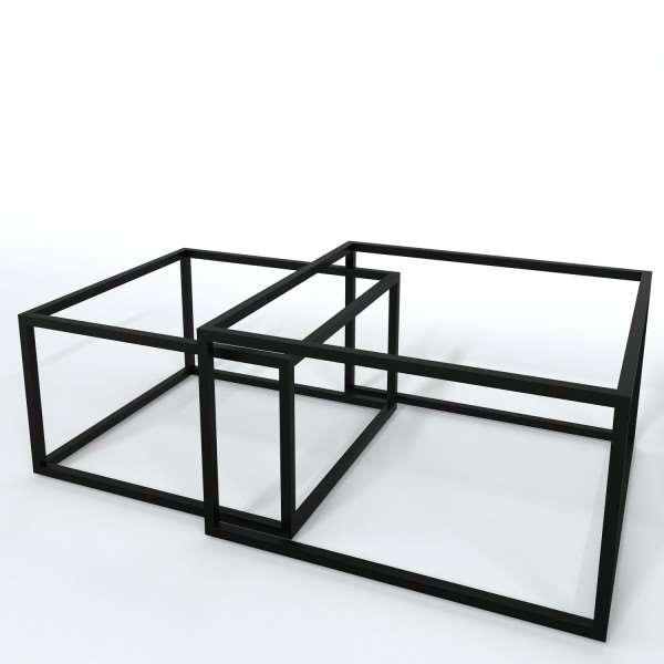 Kwadratowy stelaż do ławy 2w1 biały i czarny