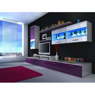 Meblościanka BETA FIOLET - wysoki połysk + LED